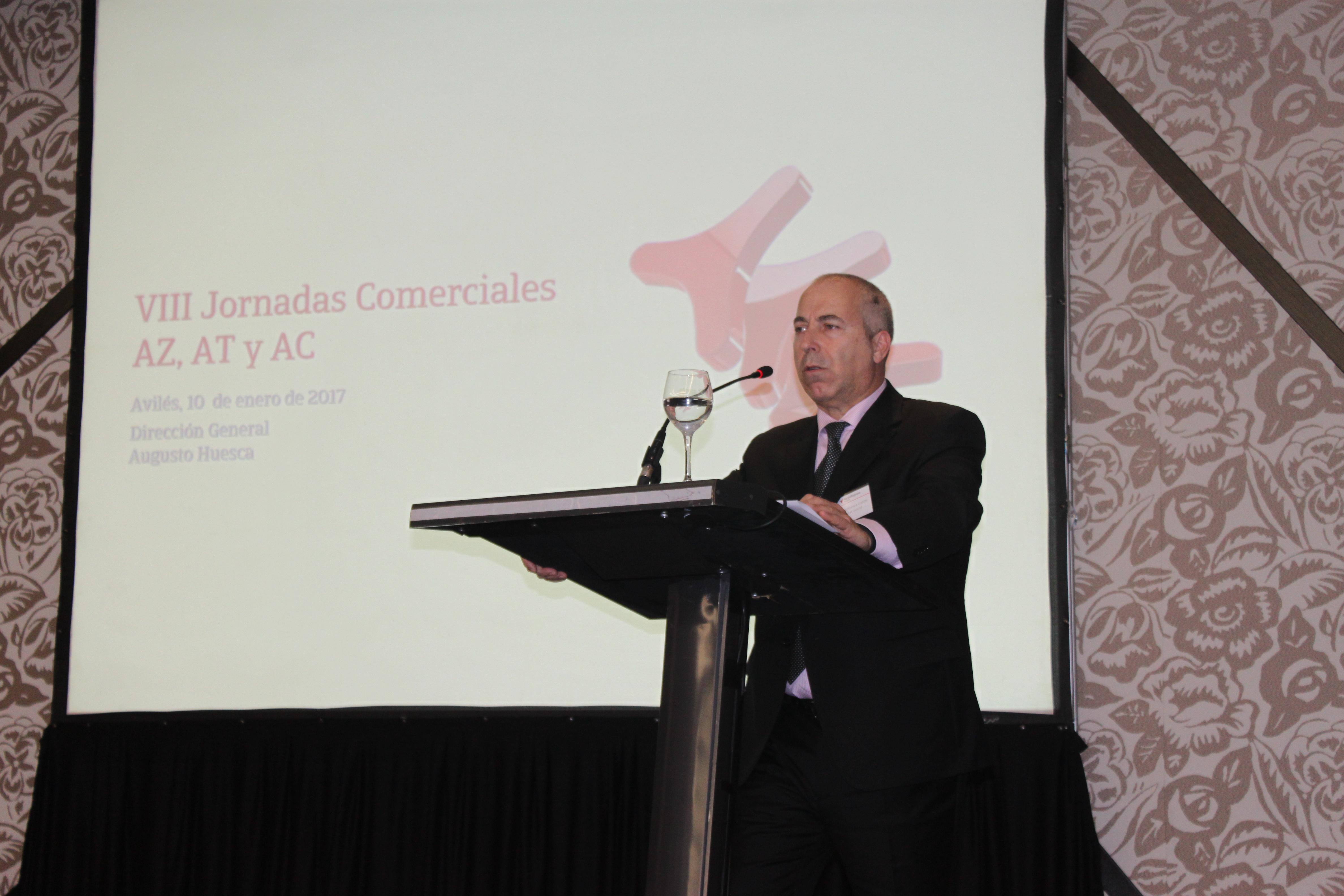 Augusto Huesca, Director General de NorteHispana Seguros, durante su intervención en las Jornadas comerciales 2017 de la compañía aseguradora.