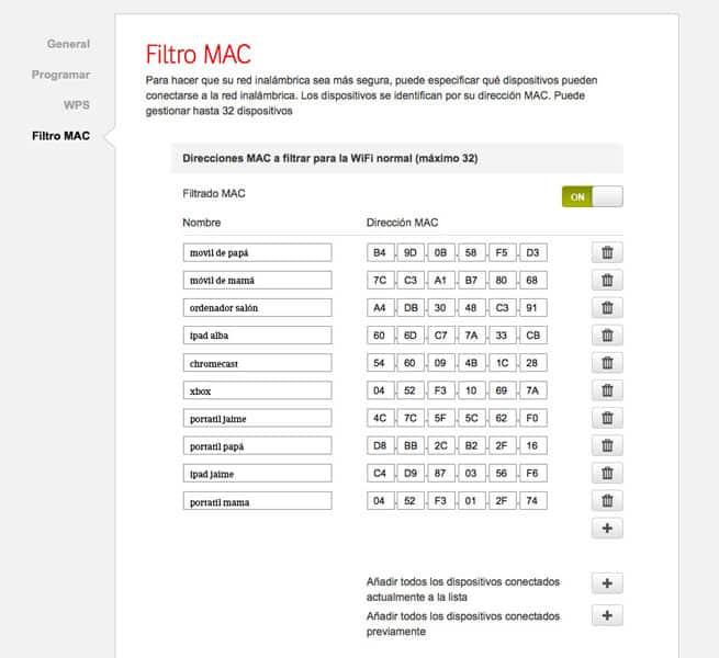 como filtrar dirección mac wifi